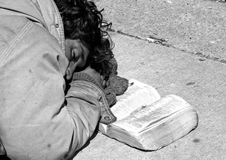 Homeless Man with Bible